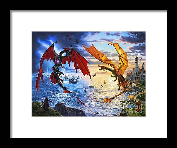 Dragon Framed Print featuring the painting Duel of the Dragon Wizards by Stu Shepherd