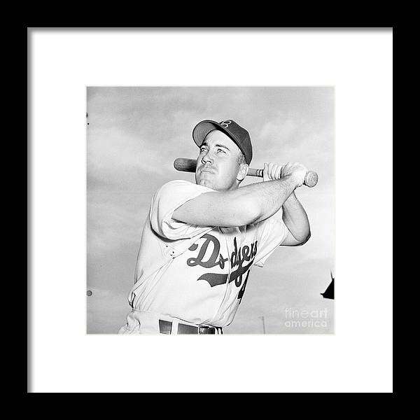 1950-1959 Framed Print featuring the photograph Duke Snider by Kidwiler Collection