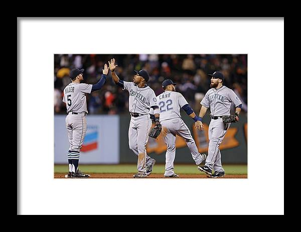 San Francisco Framed Print featuring the photograph Dustin Ackley, Austin Jackson, and Brad Miller by Lachlan Cunningham