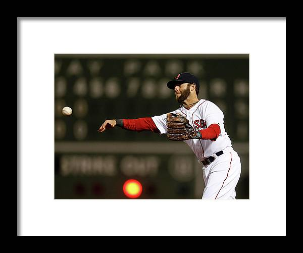 American League Baseball Framed Print featuring the photograph Dustin Pedroia and Adam Jones by Jim Rogash