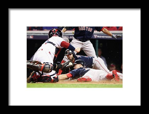 People Framed Print featuring the photograph Dustin Pedroia and Brock Holt by Maddie Meyer