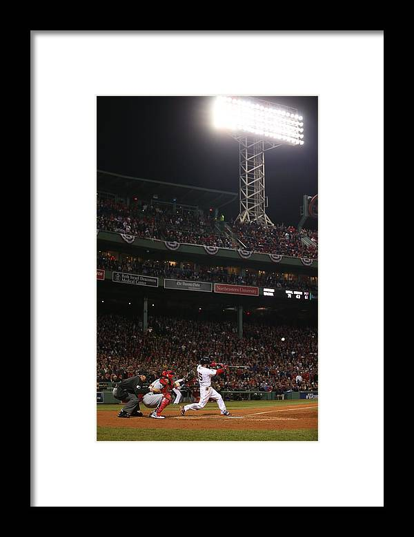 Playoffs Framed Print featuring the photograph Dustin Pedroia by Brad Mangin