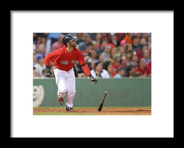 People Framed Print featuring the photograph Dustin Pedroia by Jim Rogash