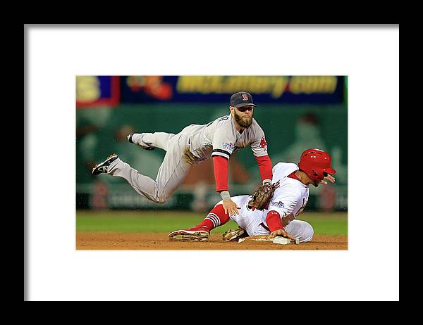 2nd Base Framed Print featuring the photograph Dustin Pedroia, Jon Jay, and David Freese by Dilip Vishwanat