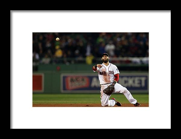 Playoffs Framed Print featuring the photograph Dustin Pedroia by Rob Carr