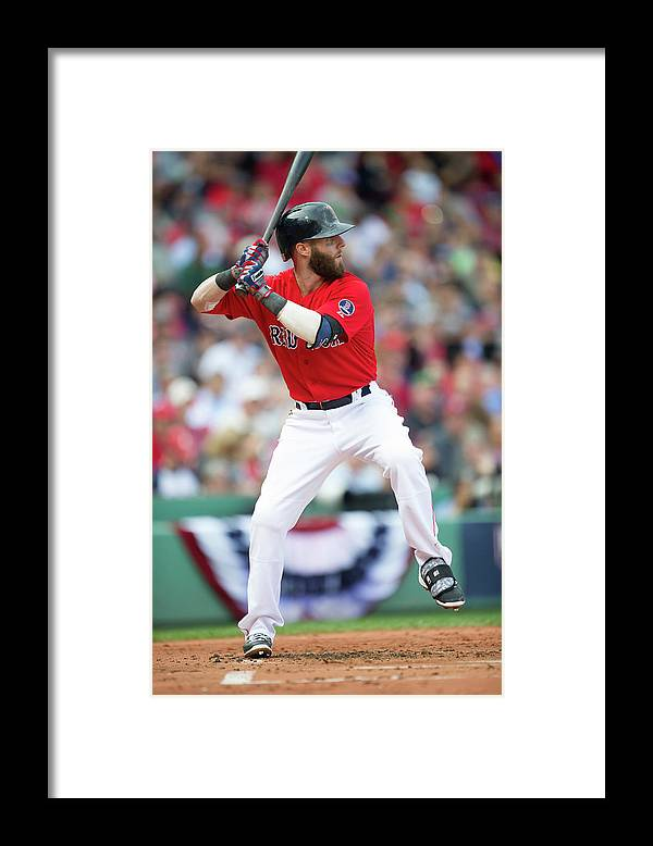 Playoffs Framed Print featuring the photograph Dustin Pedroia by Rob Tringali