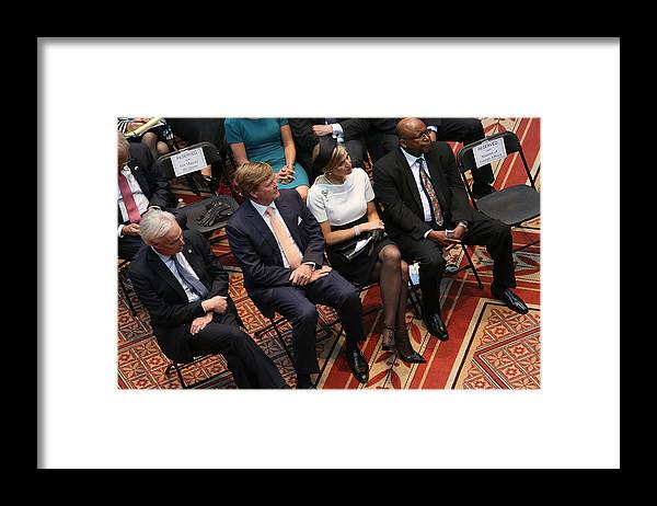 Event Framed Print featuring the photograph Dutch King And Queen Visit Washington, Attend Global City Team Challenge Event by Win McNamee