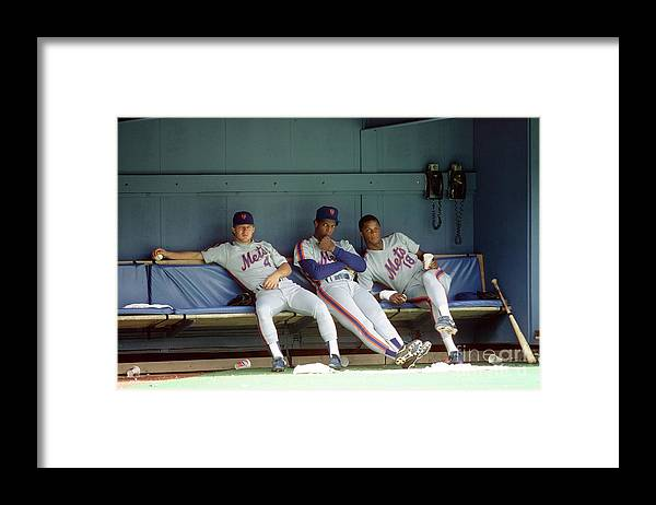 Dwight Gooden Framed Print featuring the photograph Dwight Gooden, Darryl Strawberry, and Lenny Dykstra by George Gojkovich