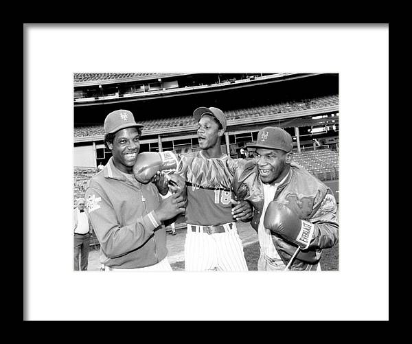 Event Framed Print featuring the photograph Dwight Gooden, Darryl Strawberry, and Mike Tyson by New York Daily News Archive
