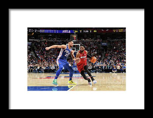 Nba Pro Basketball Framed Print featuring the photograph Dwyane Wade and Ben Simmons by Jesse D. Garrabrant