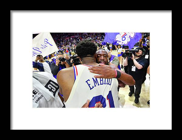 Playoffs Framed Print featuring the photograph Dwyane Wade and Joel Embiid by Jesse D. Garrabrant