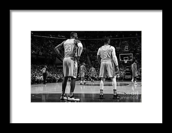 Nba Pro Basketball Framed Print featuring the photograph Dwyane Wade and Lebron James by Joe Murphy