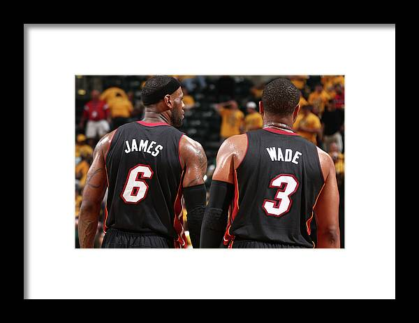 Playoffs Framed Print featuring the photograph Dwyane Wade and Lebron James by Nathaniel S. Butler