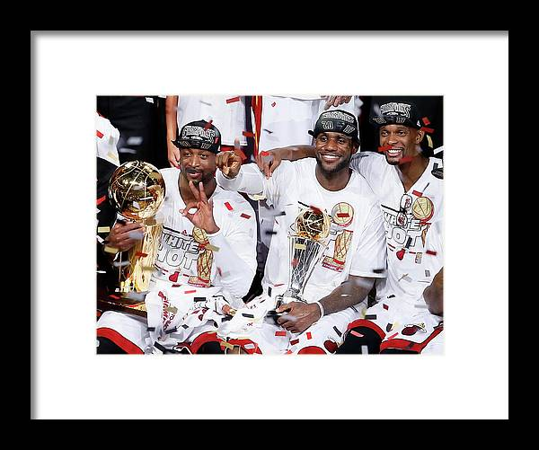 Playoffs Framed Print featuring the photograph Dwyane Wade, Chris Bosh, and Lebron James by Kevin C. Cox
