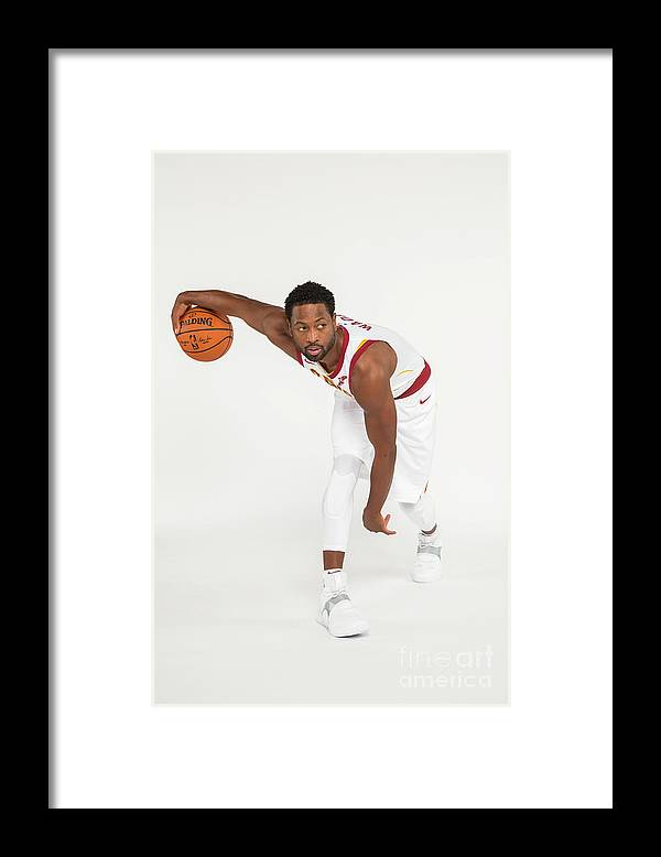 Media Day Framed Print featuring the photograph Dwyane Wade by Michael J. Lebrecht Ii