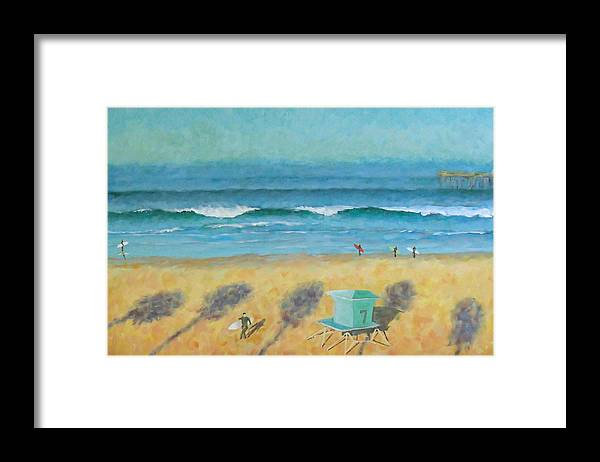 Life Guard Tower Framed Print featuring the painting Tower Number Seven by Philip Fleischer