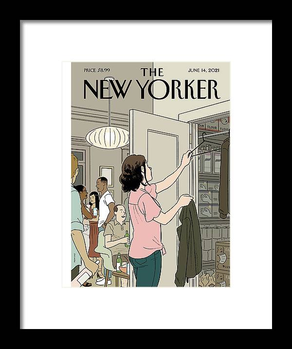 Covid19 Framed Print featuring the digital art Easing Back by Adrian Tomine