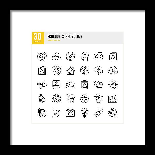 Environmental Conservation Framed Print featuring the photograph Ecology & Recycling - set of line vector icons. Pixel Perfect. Set contains such icons as Climate Change, Alternative Energy, Recycling, Green Technology by Fonikum