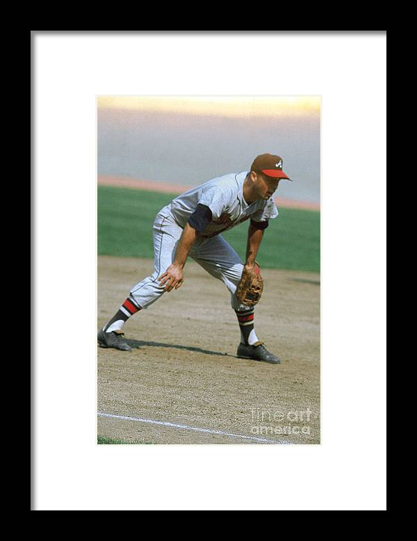 National League Baseball Framed Print featuring the photograph Eddie Mathews by Louis Requena