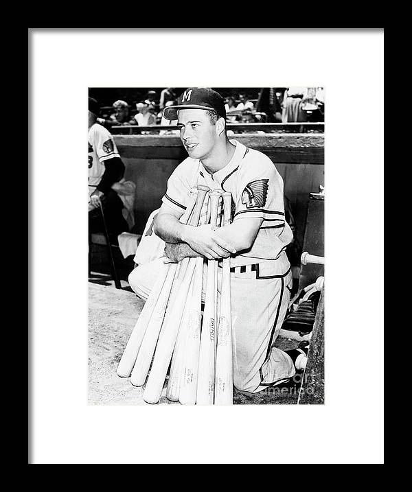 1950-1959 Framed Print featuring the photograph Eddie Mathews by National Baseball Hall Of Fame Library