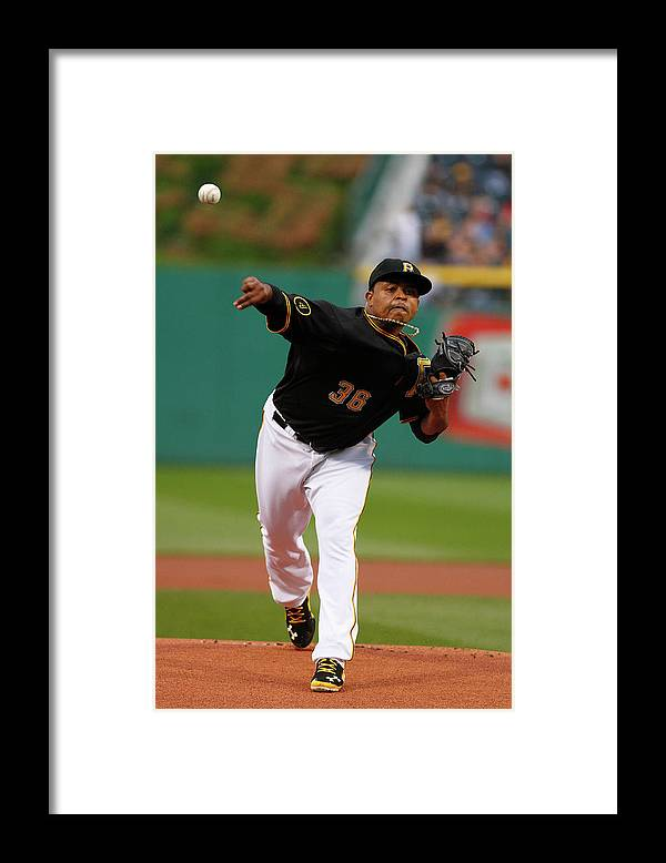 Professional Sport Framed Print featuring the photograph Edinson Volquez by Justin K. Aller