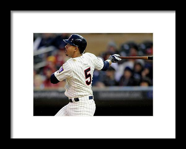 Second Inning Framed Print featuring the photograph Eduardo Escobar by Hannah Foslien