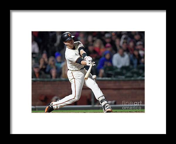 San Francisco Framed Print featuring the photograph Eduardo Nunez And Buster Posey by Thearon W. Henderson