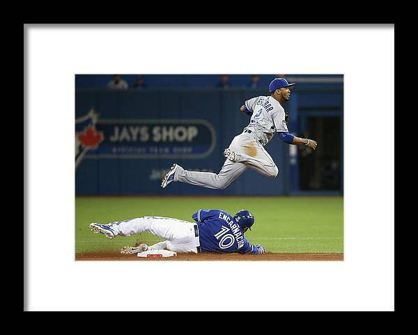 Double Play Framed Print featuring the photograph Edwin Encarnacion and Alcides Escobar by Tom Szczerbowski