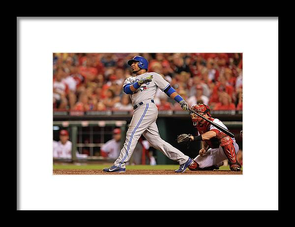 Great American Ball Park Framed Print featuring the photograph Edwin Encarnacion by Jamie Sabau