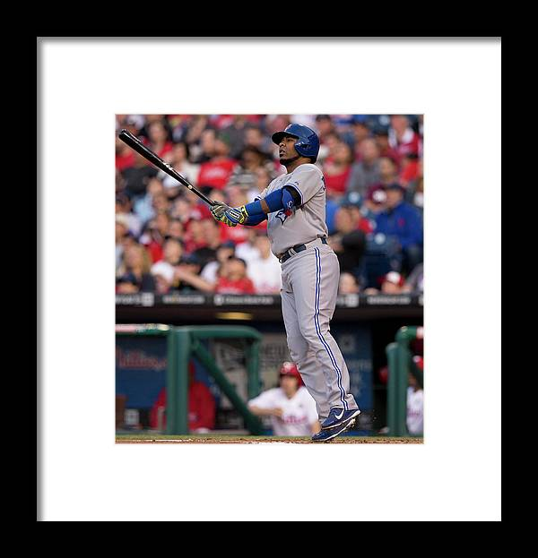 Second Inning Framed Print featuring the photograph Edwin Encarnacion by Mitchell Leff