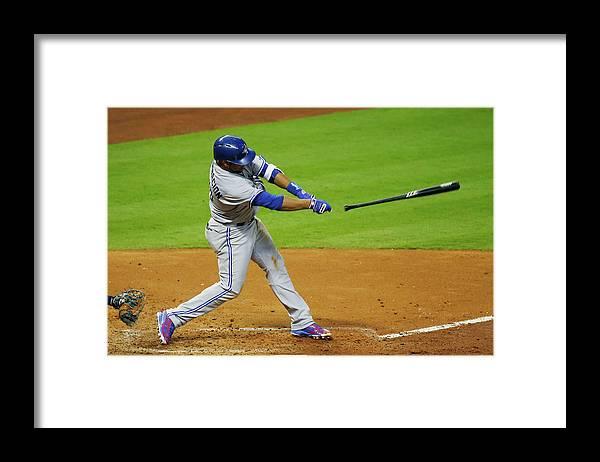 American League Baseball Framed Print featuring the photograph Edwin Encarnacion by Scott Halleran