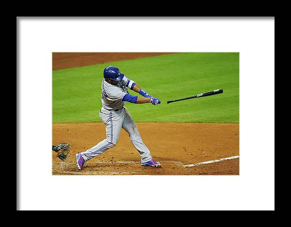 American League Baseball Framed Print featuring the photograph Edwin Encarnacion by Scott Halleran