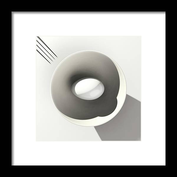 Egg Framed Print featuring the digital art Egg and Bowl after Cesare Onestini by Heike Remy