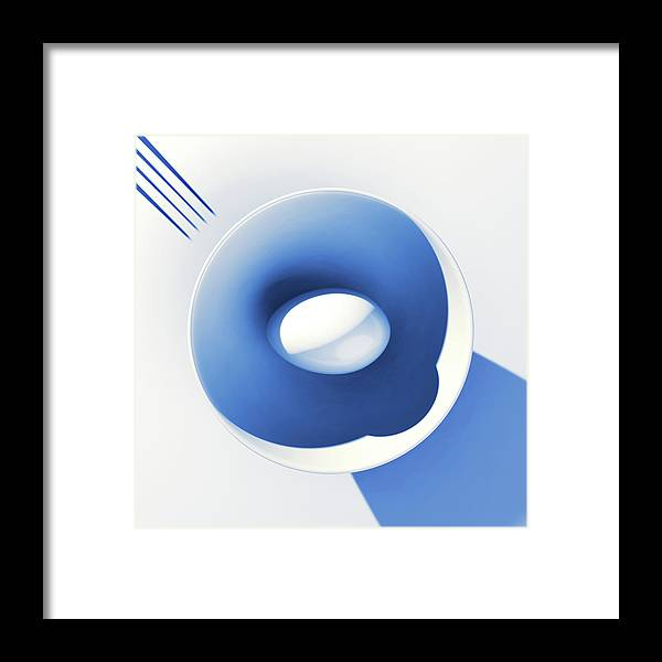 Egg Framed Print featuring the digital art Egg and Bowl_electric blue after Cesare Onestini by Heike Remy