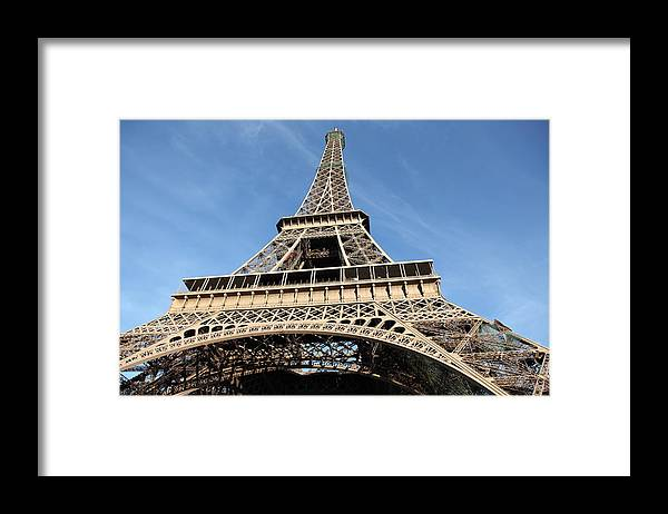 Directly Below Framed Print featuring the photograph Eiffel Tower, Paris by Pejft