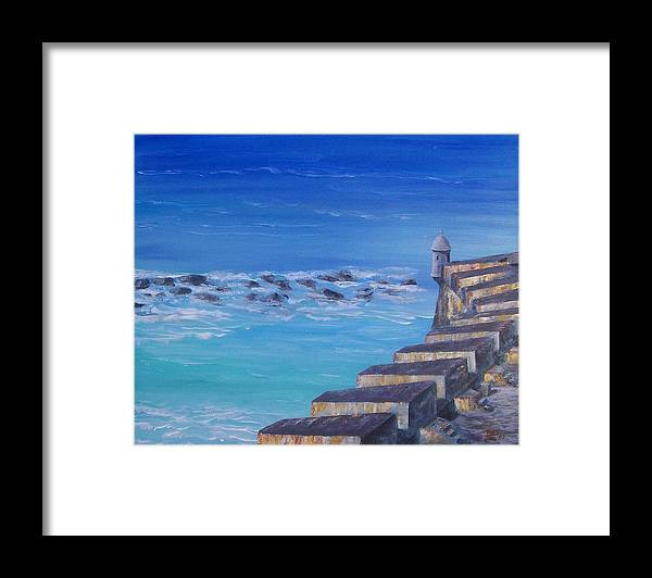 El Morro Fortress Framed Print featuring the painting El Morro Fortress by Tony Rodriguez