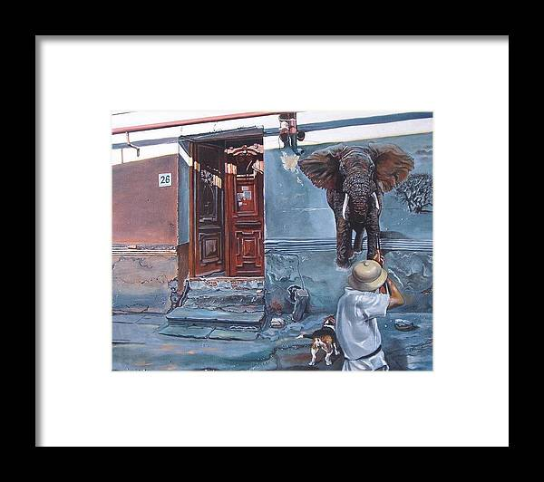 Surreal Framed Print featuring the painting Elephant Hunter's Hallucination by Ramaz Razmadze