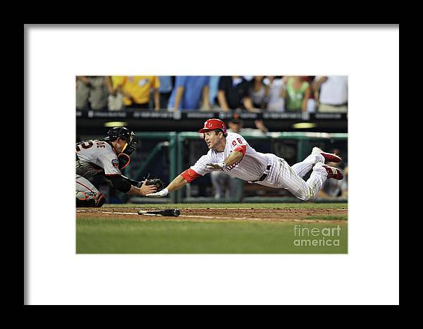 Citizens Bank Park Framed Print featuring the photograph Eli Whiteside And Chase Utley by Drew Hallowell