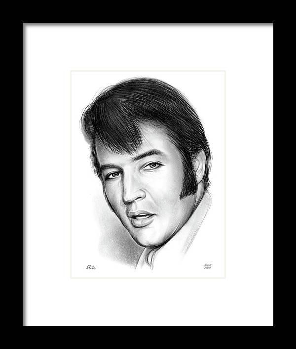Elvis Presley Framed Print featuring the drawing Elvis 3 by Greg Joens