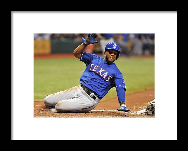 American League Baseball Framed Print featuring the photograph Elvis Andrus by Al Messerschmidt