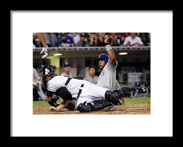 People Framed Print featuring the photograph Elvis Andrus and Austin Hedges by Denis Poroy
