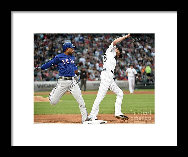 People Framed Print featuring the photograph Elvis Andrus and Chris Sale by David Banks