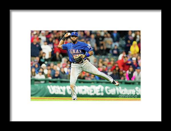 People Framed Print featuring the photograph Elvis Andrus and Francisco Lindor by Jason Miller