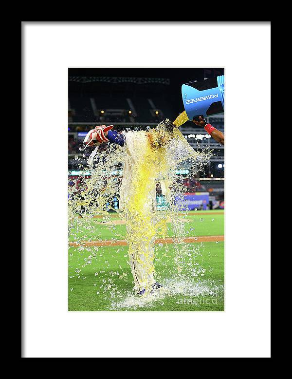 Ninth Inning Framed Print featuring the photograph Elvis Andrus and Joey Gallo by Rick Yeatts
