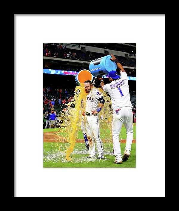 People Framed Print featuring the photograph Elvis Andrus and Jonathan Lucroy by Rick Yeatts