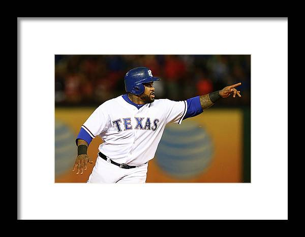 Three Quarter Length Framed Print featuring the photograph Elvis Andrus And Prince Fielder by Sarah Crabill
