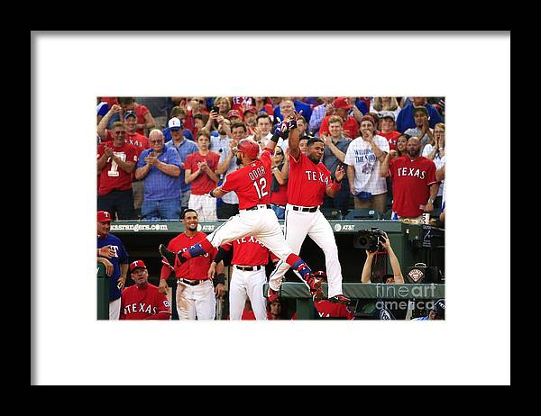 Second Inning Framed Print featuring the photograph Elvis Andrus and Rougned Odor by Ron Jenkins