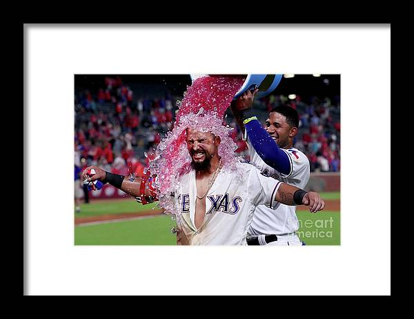Ninth Inning Framed Print featuring the photograph Elvis Andrus and Rougned Odor by Tom Pennington