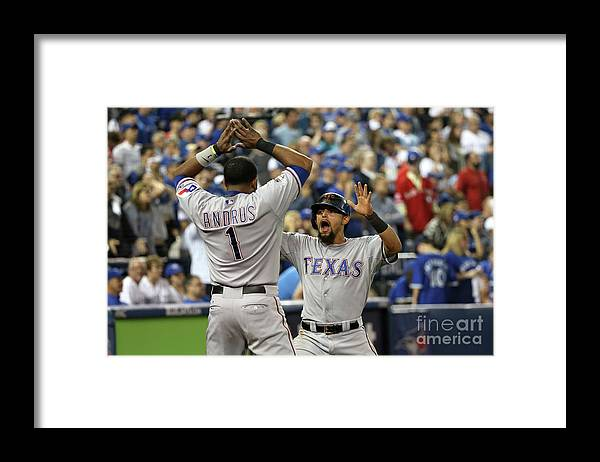 Game Two Framed Print featuring the photograph Elvis Andrus and Rougned Odor by Tom Szczerbowski