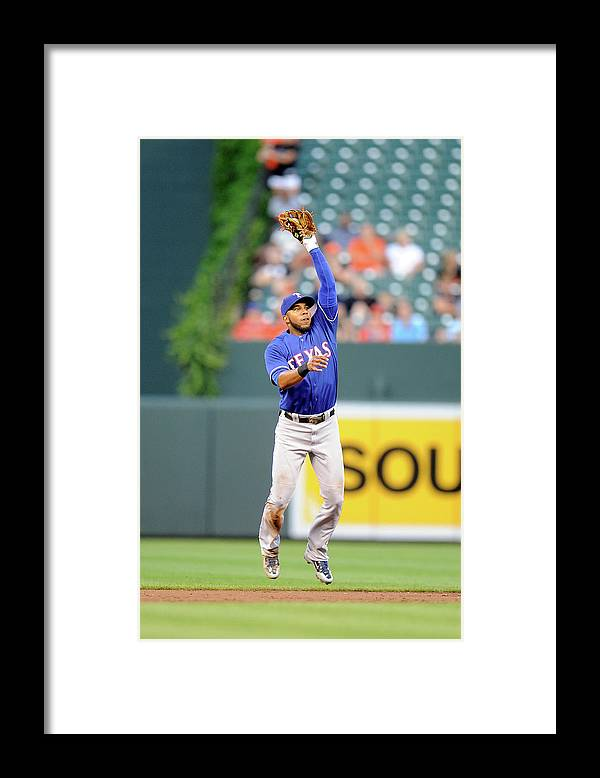Second Inning Framed Print featuring the photograph Elvis Andrus and Ryan Flaherty by Greg Fiume